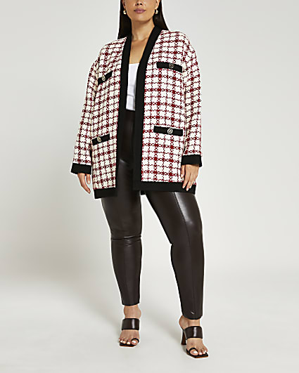 Plus red boucle jacket