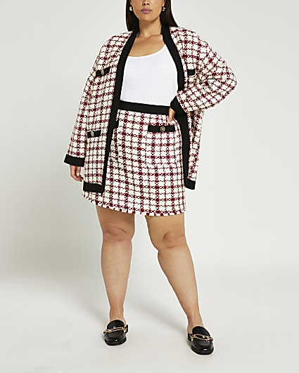 Plus red boucle mini skirt
