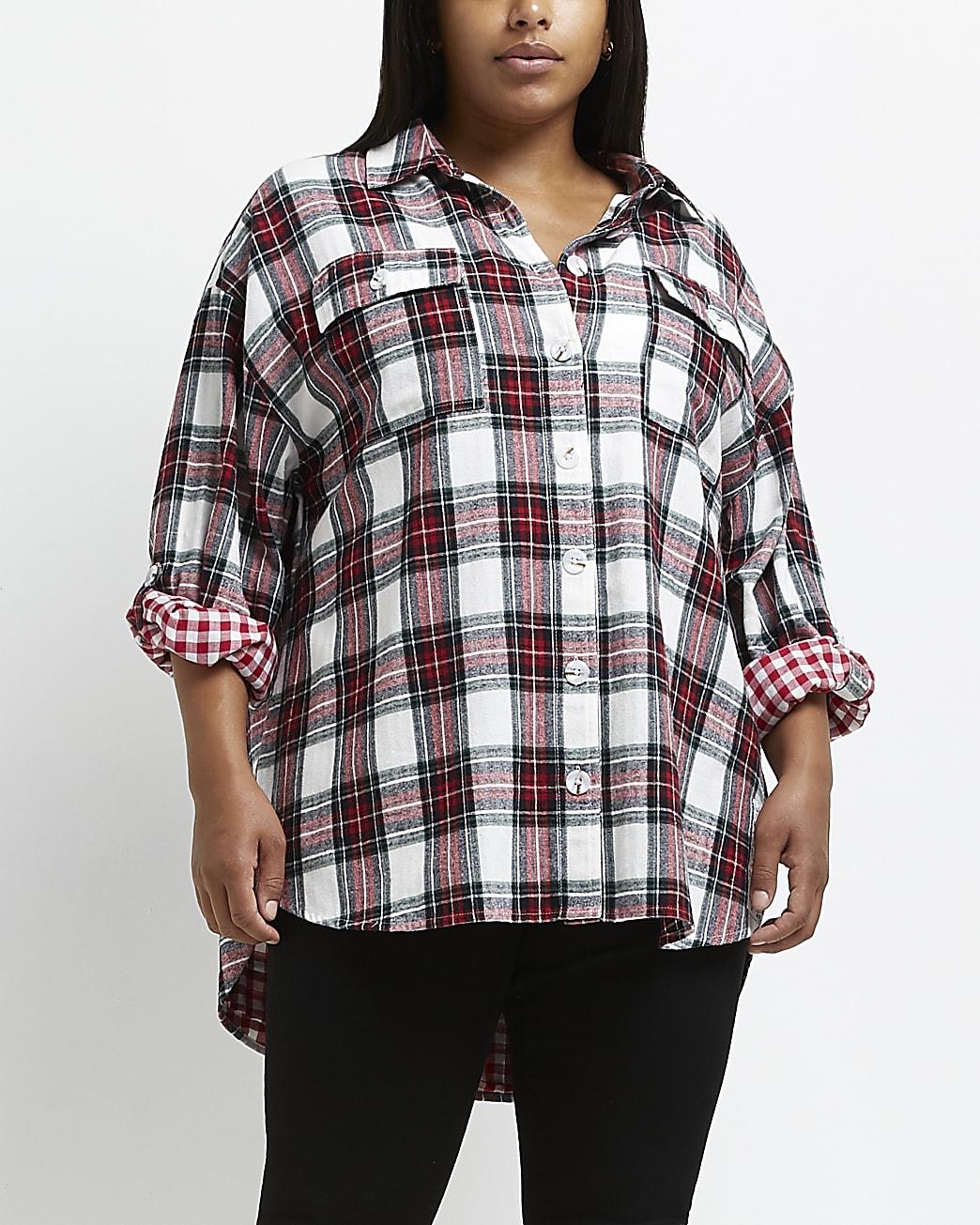 Plus red check long sleeve shirt