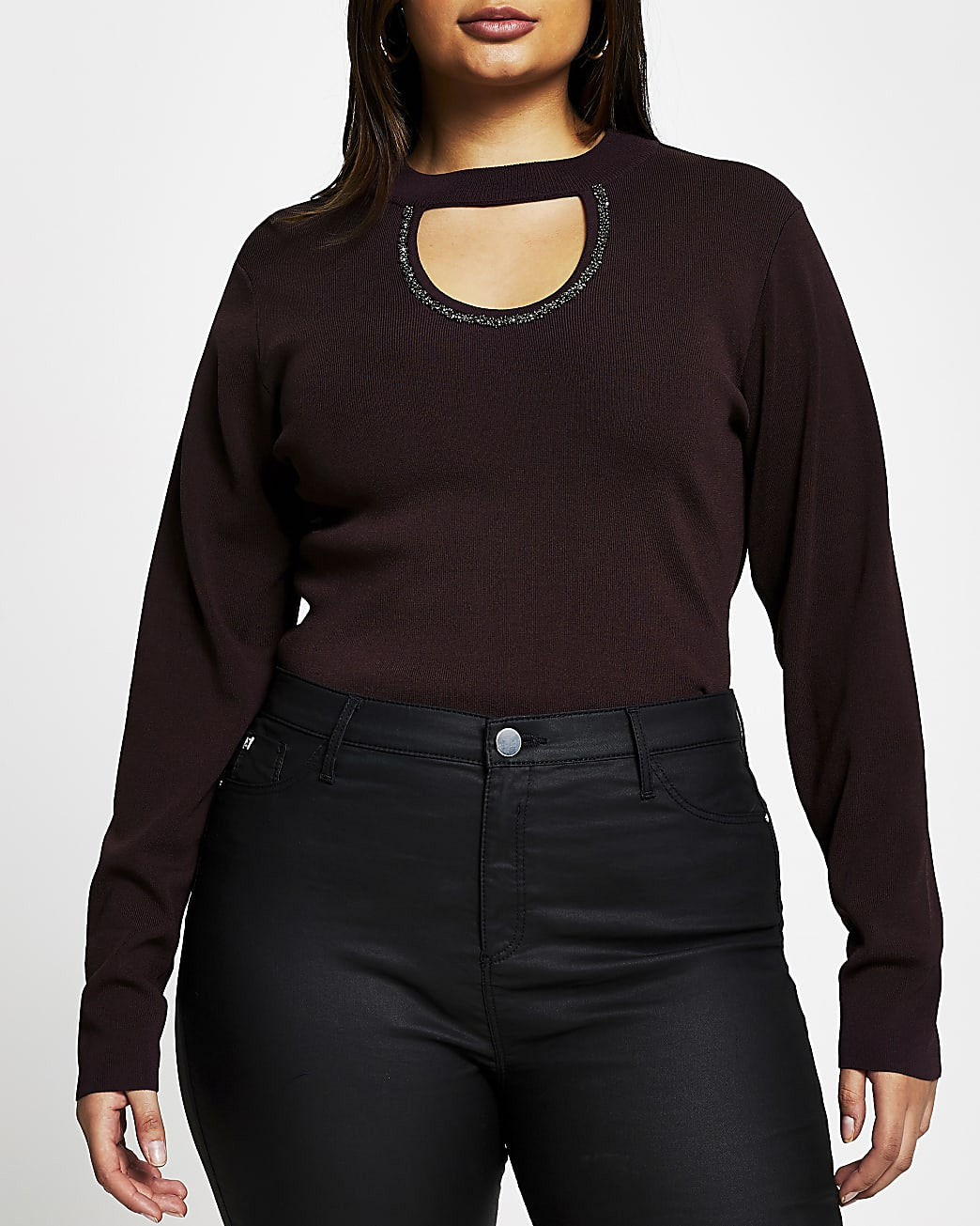 Plus red embellished cut out top