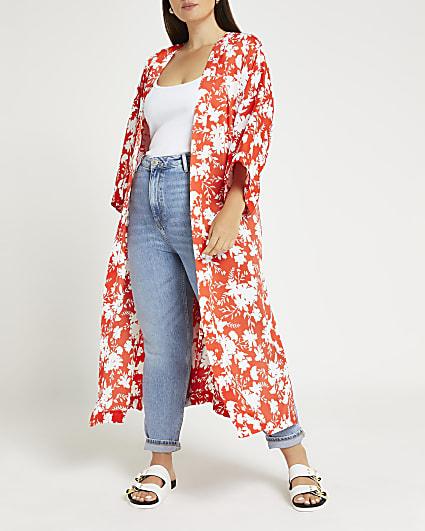 Plus red floral print longline kimono