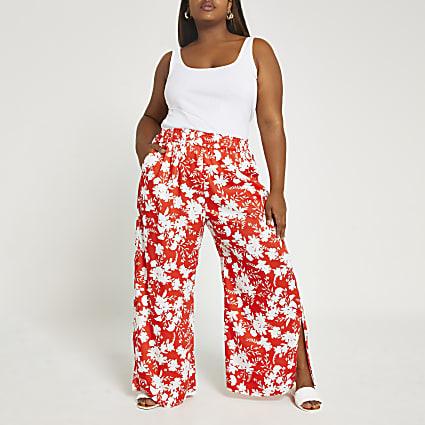 Plus red floral wide leg culottes