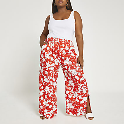 Plus red floral wide leg trousers
