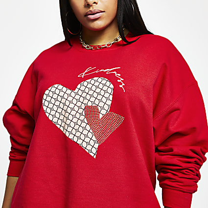 Plus red 'Kindness' RI monogram sweatshirt