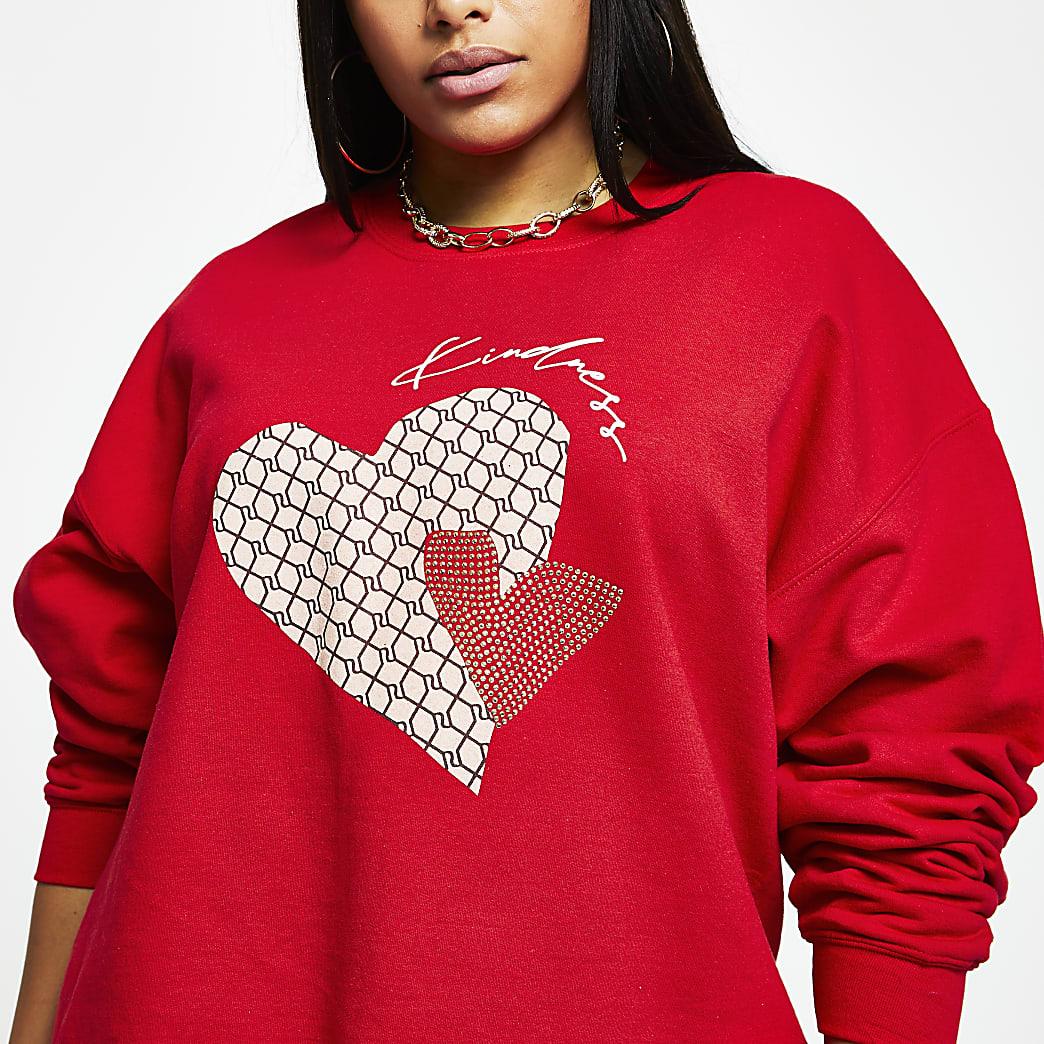 Plus red 'Kindness' RI monogram sweatshirt