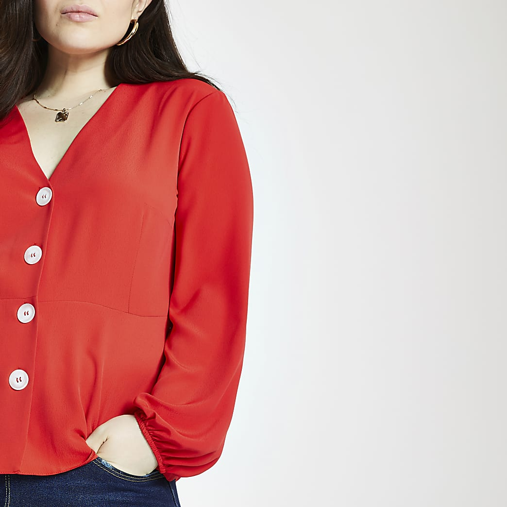 Plus red long sleeve tea top