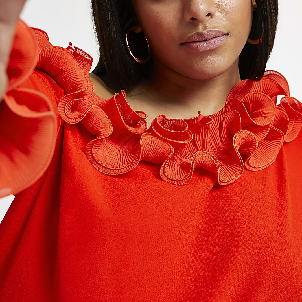 Plus red one shoulder long sleeve frill top