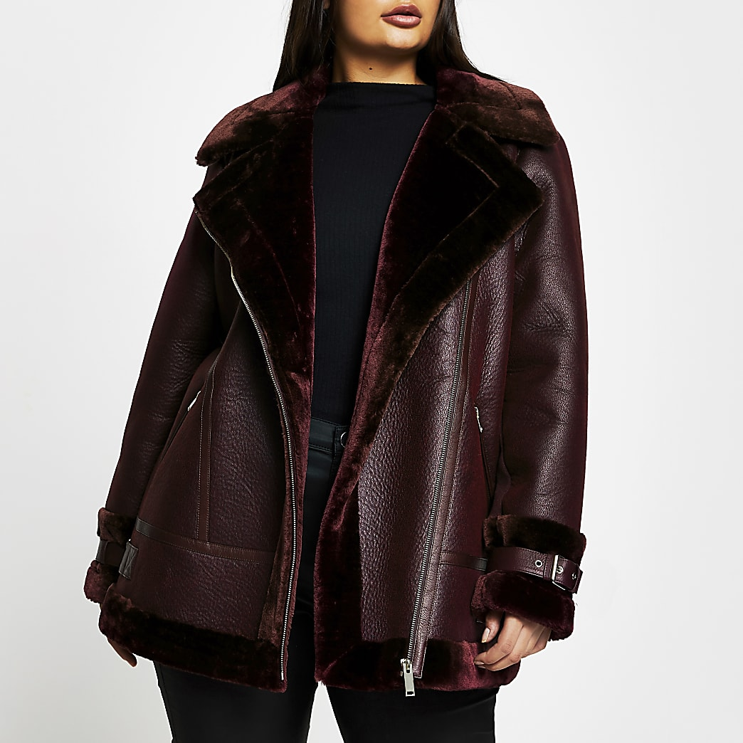 Plus red oversized shearling aviator coat