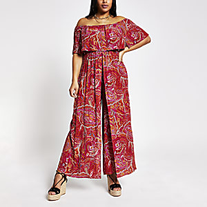 Plus – Roter Bardot-Overall mit Paisley-Muster