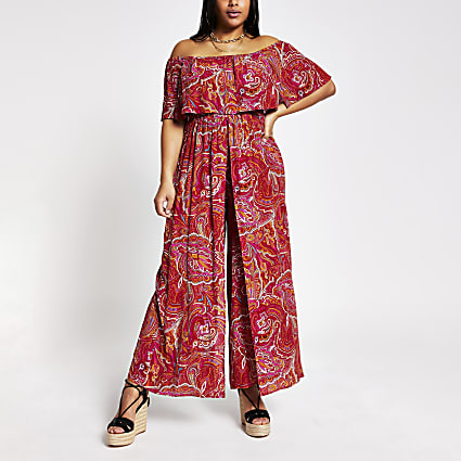Plus red paisley bardot jumpsuit