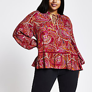 Plus – Top à smocks imprimé cachemire rouge