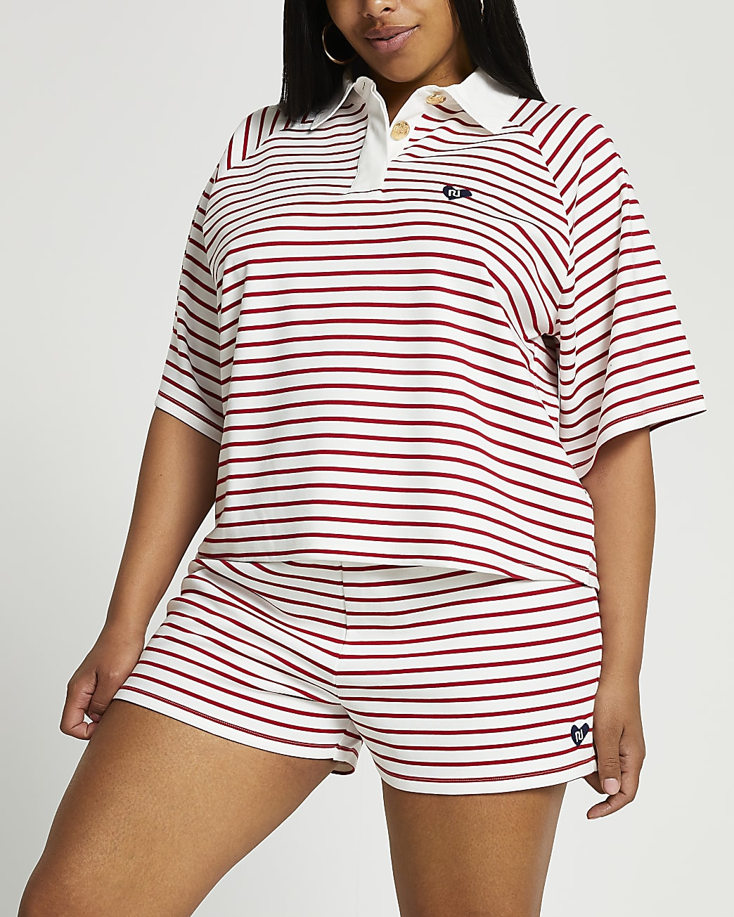 Plus red rugby stripe polo top