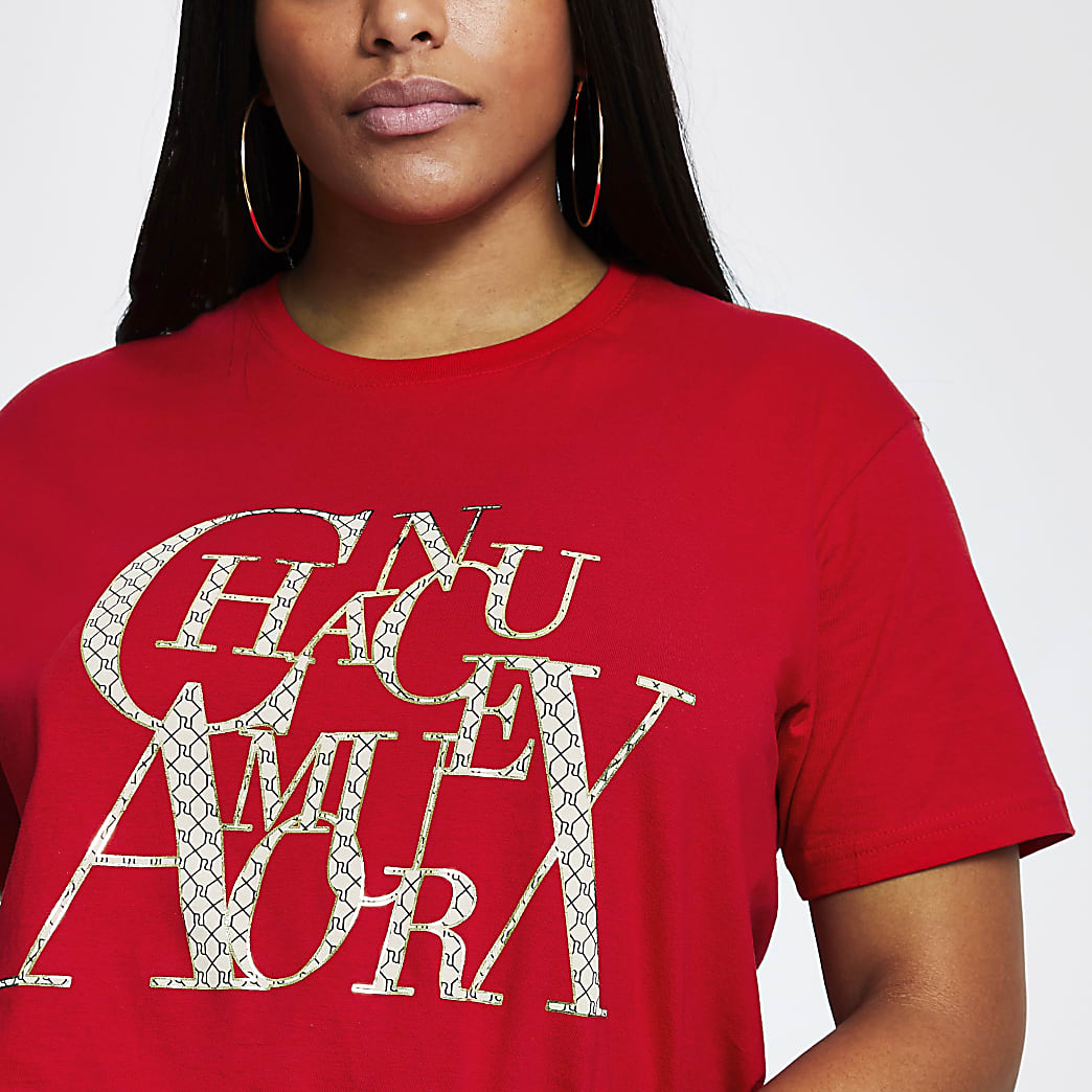Plus red short sleeve 'Chanceux' t-shirt