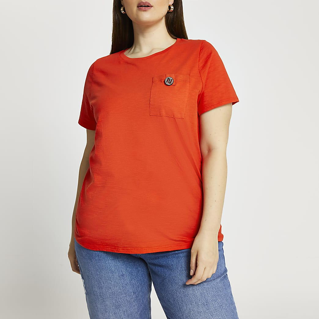 Plus red short sleeved diamante button tee