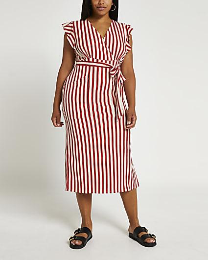Plus red stripe tie waist midi dress