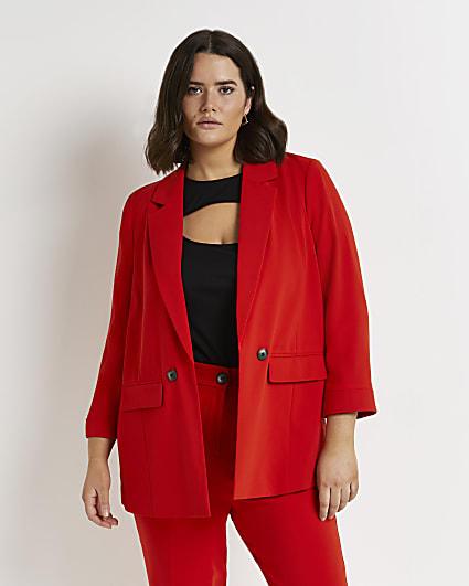 Plus red tailored blazer