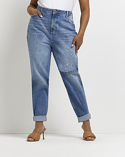 Plus ripped high waisted mom jeans
