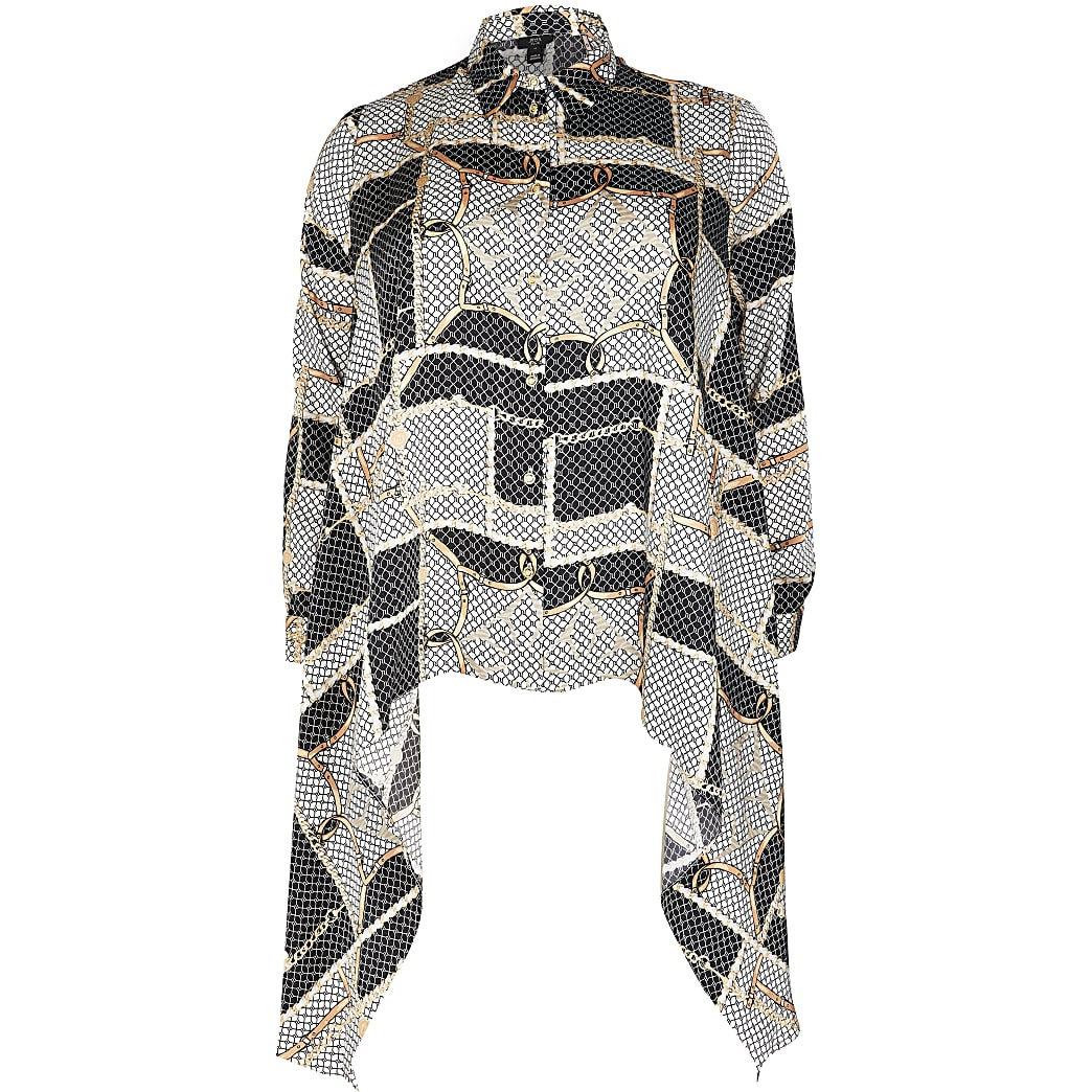 Plus silver chain print asymmetric shirt