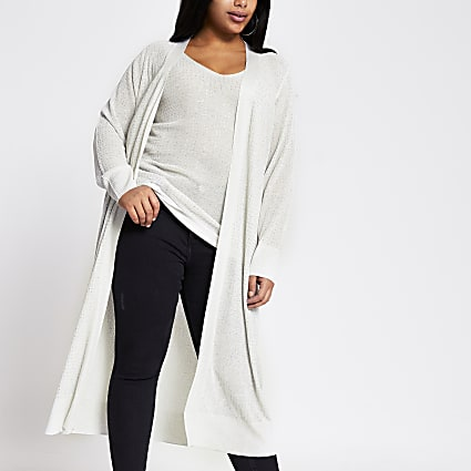 Plus silver diamante longline knit cardigan