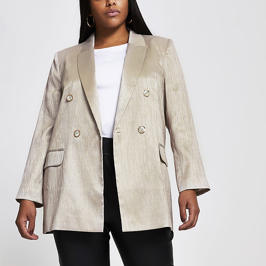 Plus silver double breasted structured blazer