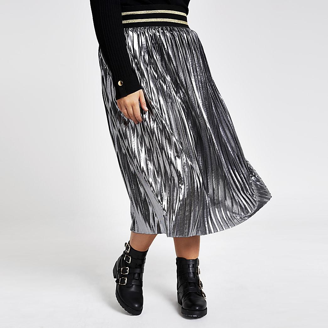 Plus silver metallic pleated midi skirt