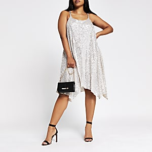 Plus Silver Sequin Cami Dress