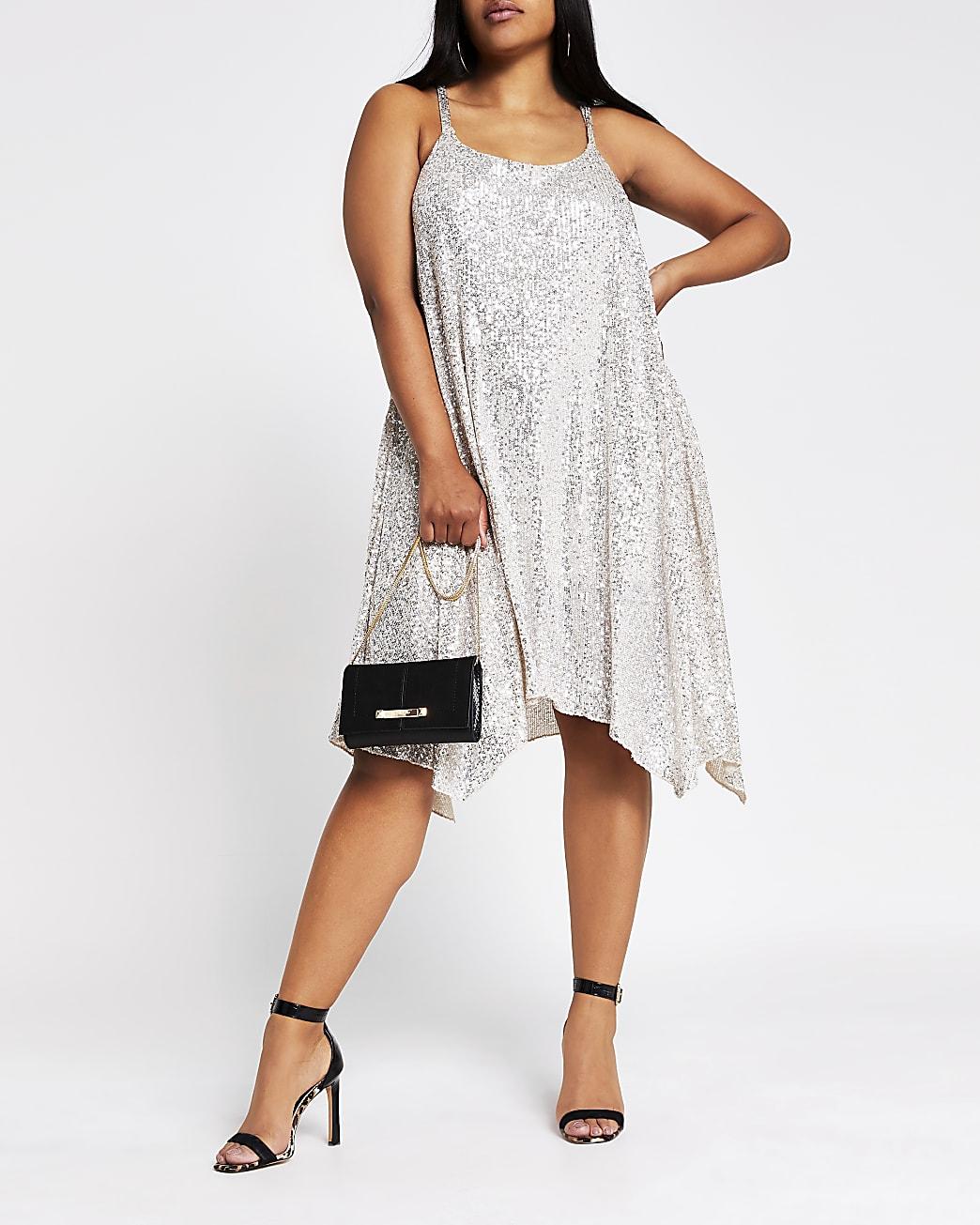 Plus silver sequin cami dress