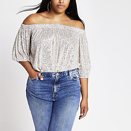 Plus silver sequin long sleeve bardot top