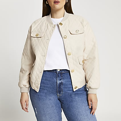 Plus stone faux leather quilted bomber