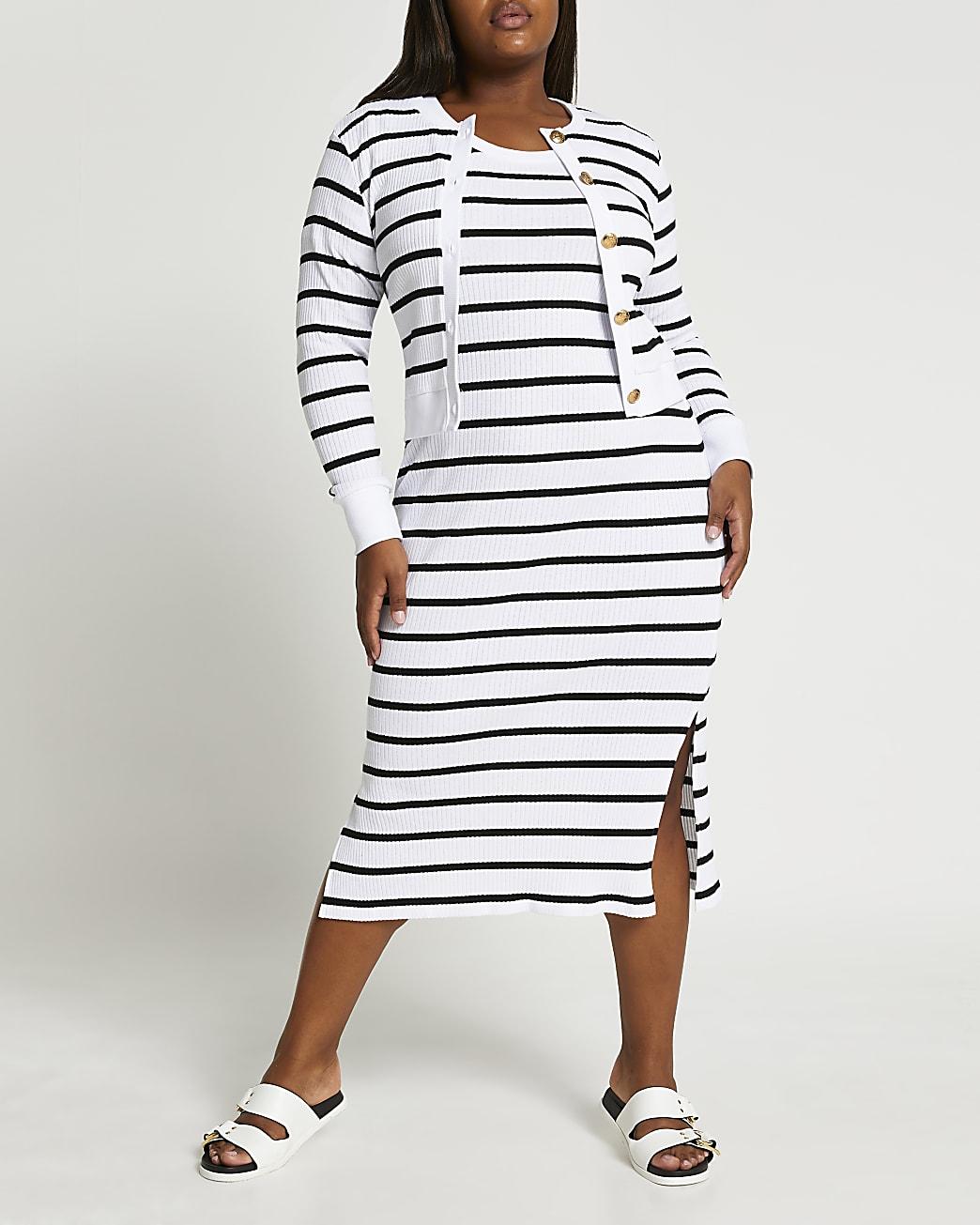 Plus stripe midi dress cardi set