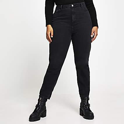 Plus Washed Black High Waisted Mom Jean