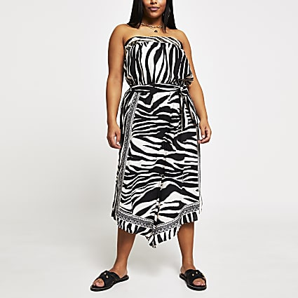 Plus white animal print culotte jumpsuit