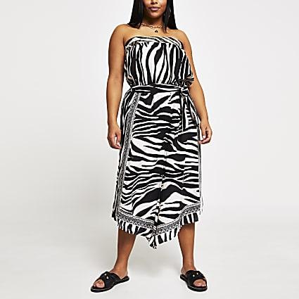 Plus white animal print culotte jumpsuit