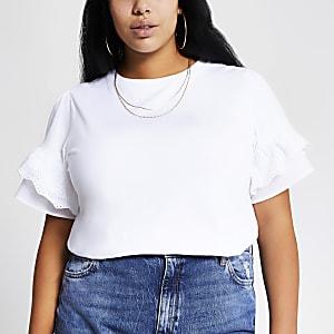 Plus – Weißes T-Shirt mit Lochstickerei-Trompetenärmeln