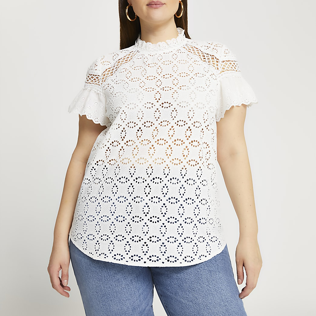 Plus white broderie frill high neck top