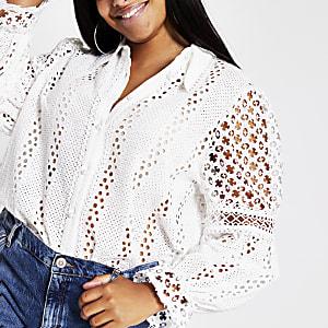 RI Plus - Wit overhemd met lange mouwen en broderie