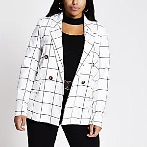 Plus – Zweireihiger Blazer in Weiß mit Karomuster