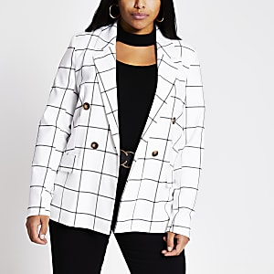 RI Plus - Witte geruite double-breasted blazer