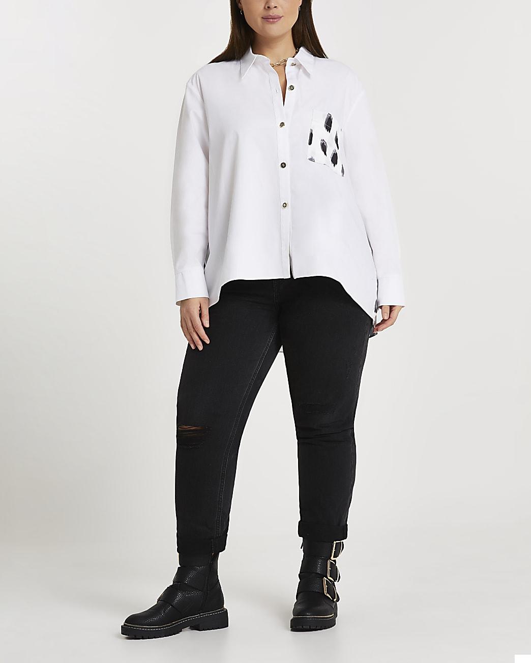 Plus white contrast back print shirt