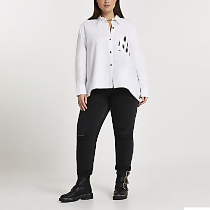 Plus white contrast back print shirt