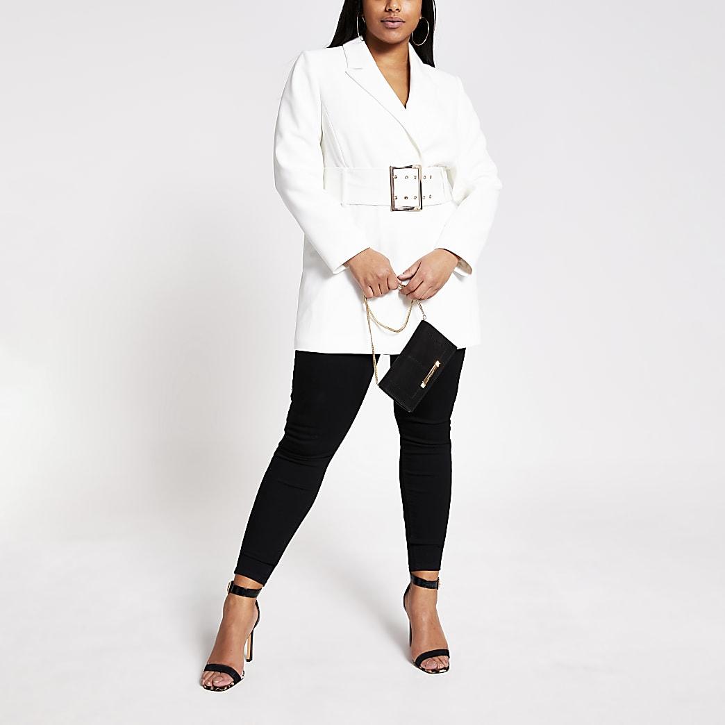 Plus white deep belted longline blazer