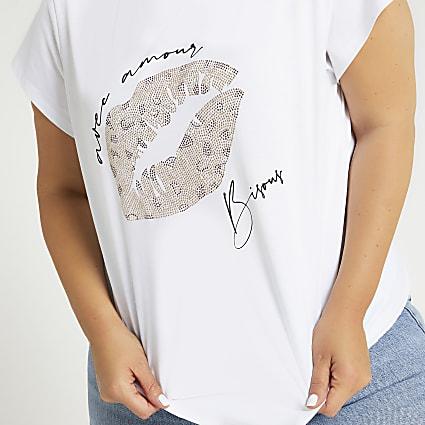 Plus white diamante lips print t-shirt