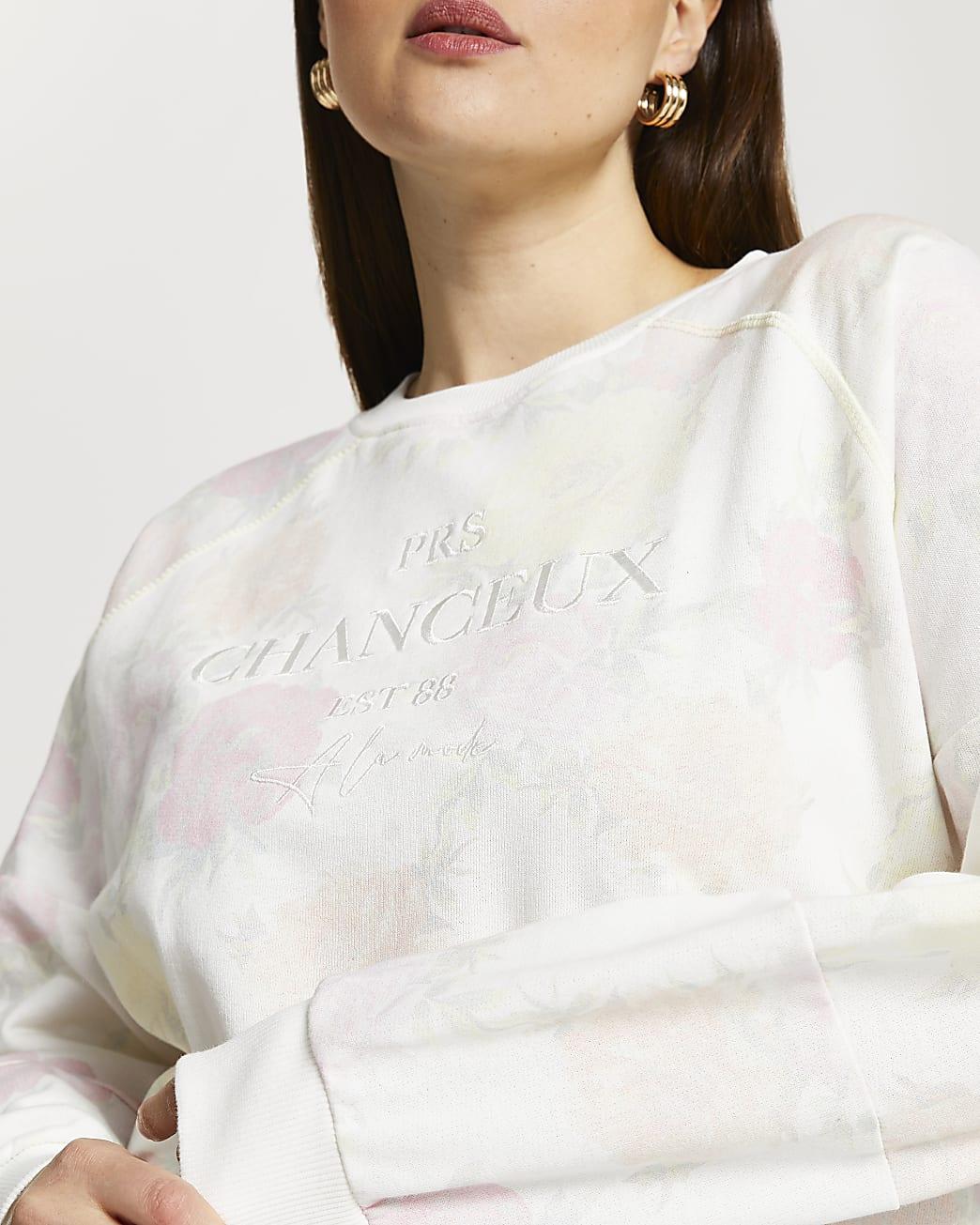 Plus white floral 'Chanceux' sweatshirt