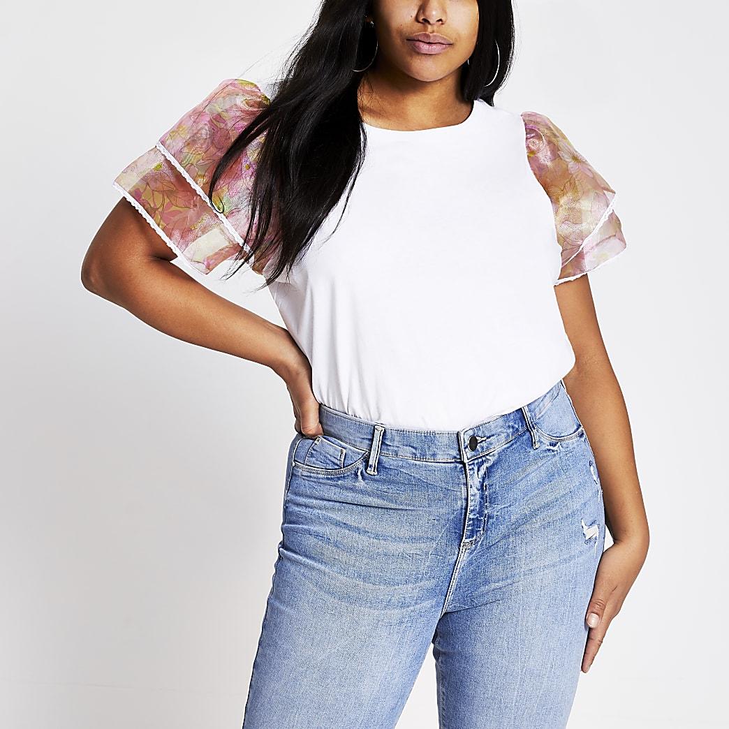 RI Plus - Wit T-shirt met organza ruches en bloemenprint