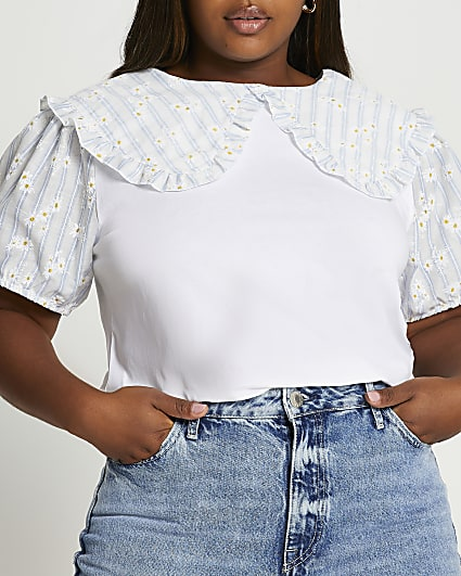 Plus white gingham floral collar blouse