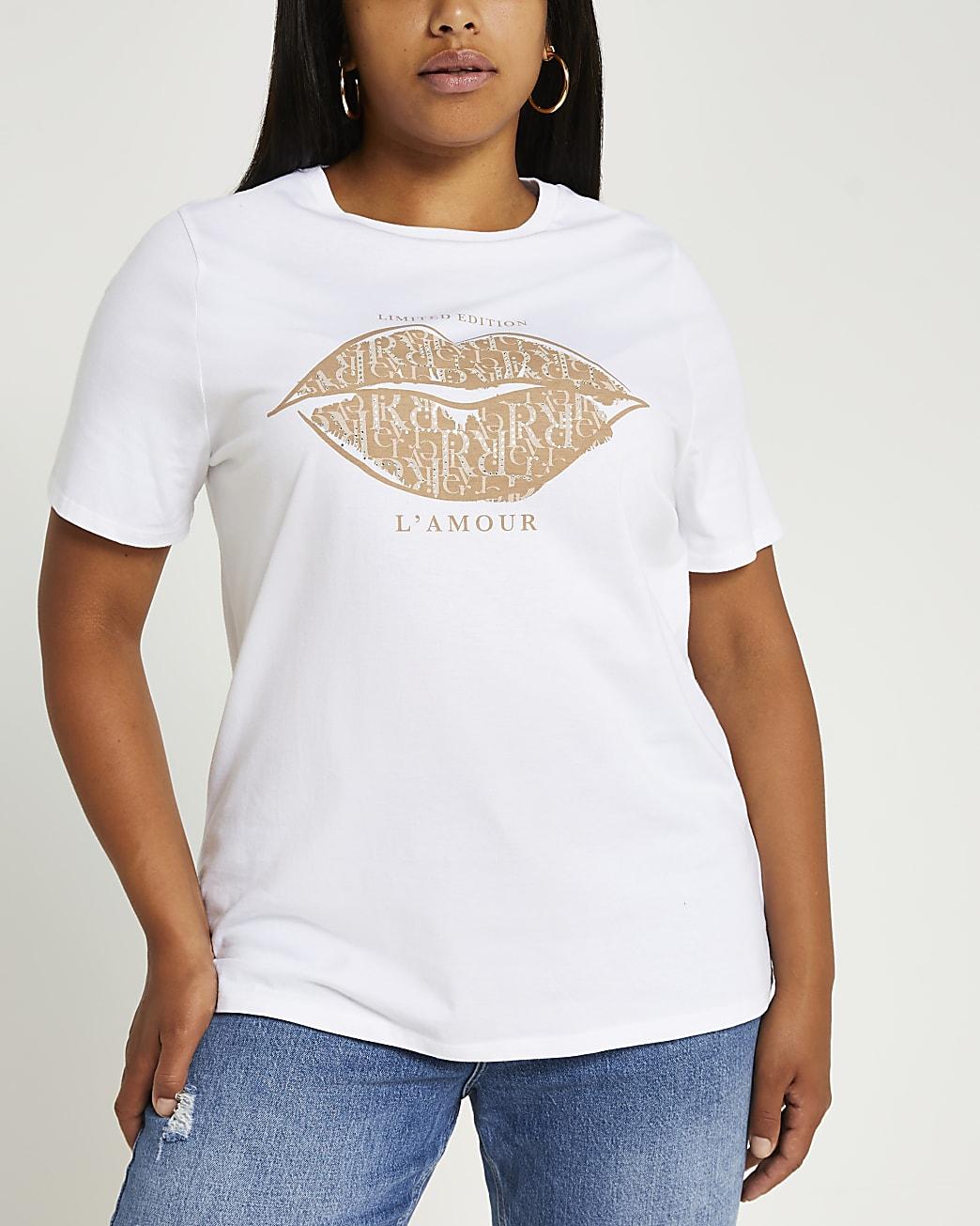 Plus white graphic short sleeve t-shirt