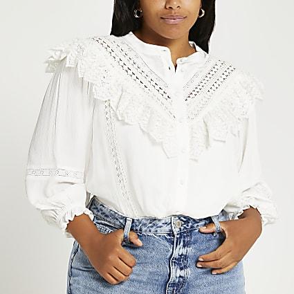 Plus white lace frill blouse top