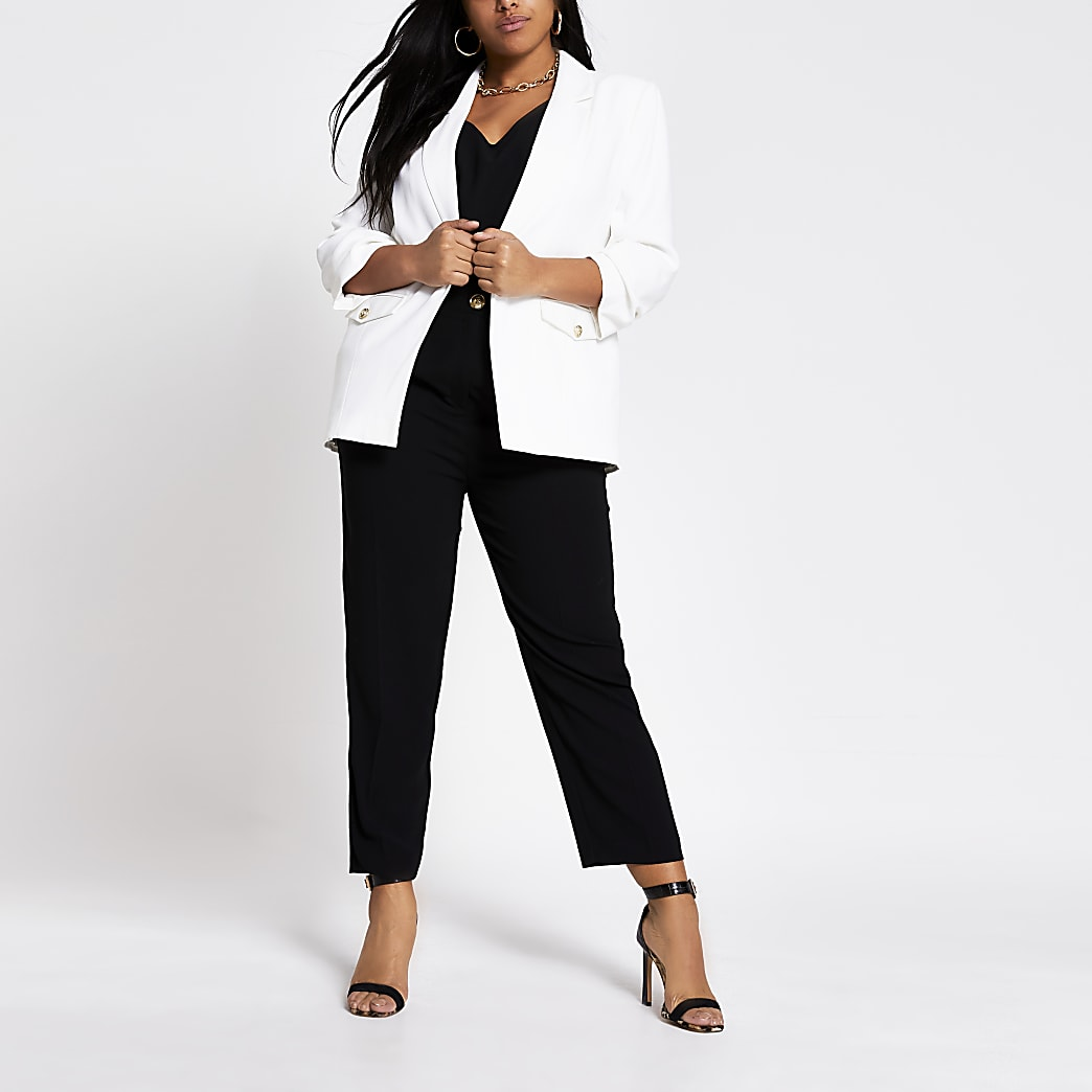 Plus white long ruched sleeve blazer