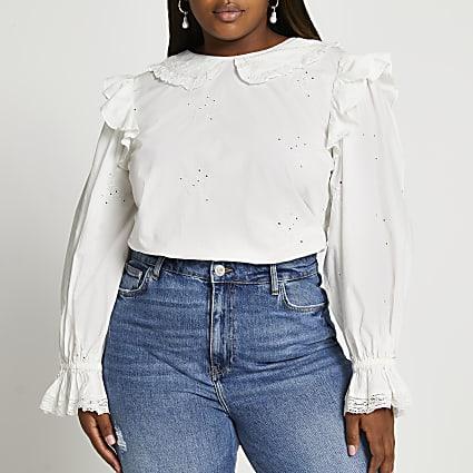 Plus white long sleeve collar blouse