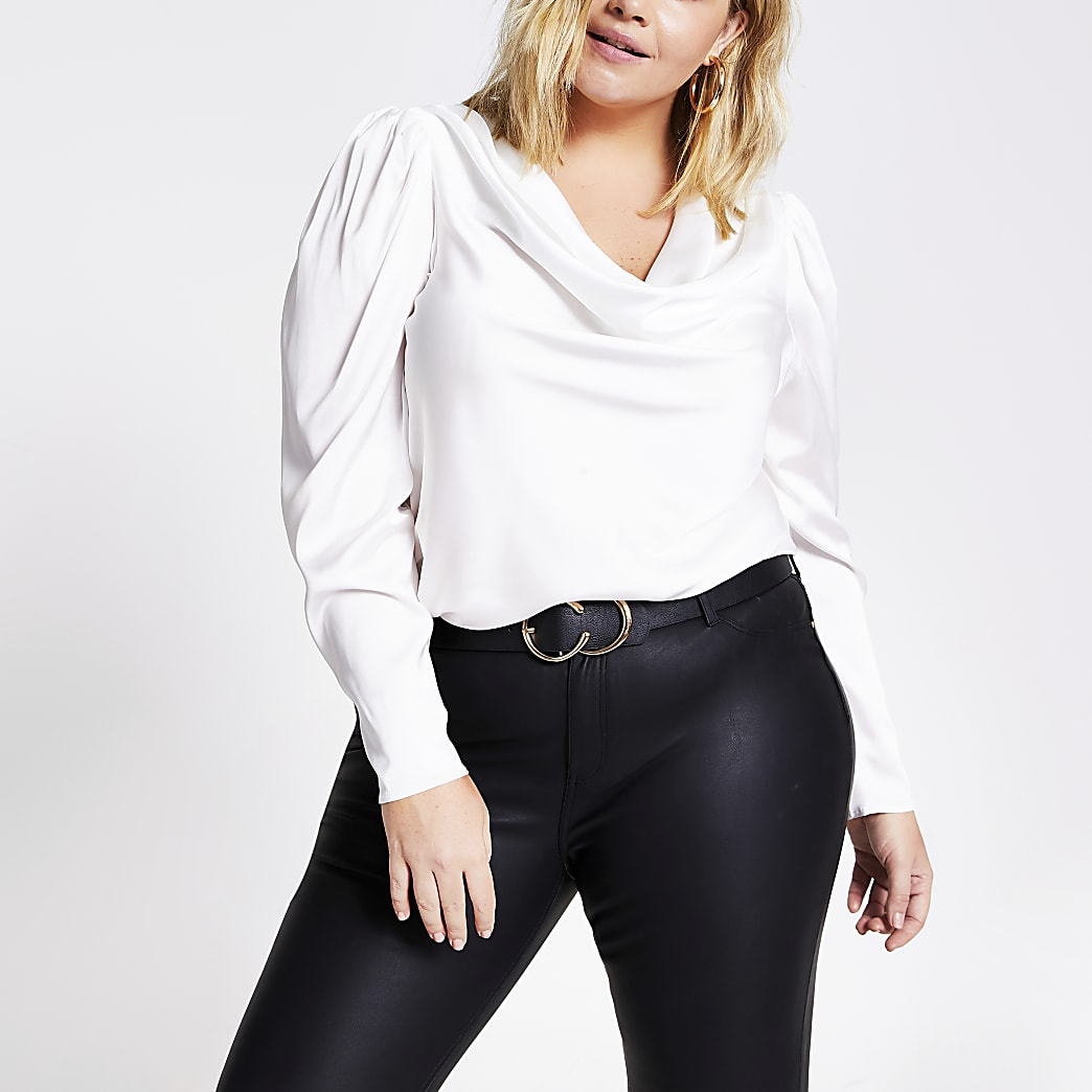 Plus white long sleeve cowl neck satin blouse